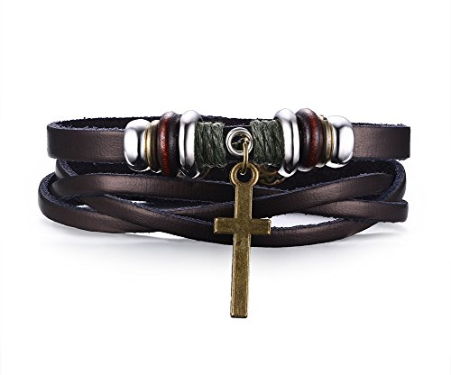Leather Wrap Cross Bracelet for Christian Jesus Lord Prayer,8.5