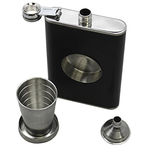 BlueDot Trading Leather and Stainless Steel 8 oz Liquor Flask with Built In Collapsible 2 oz Stainless Steel Shot Glass and Funnel - 1 2 3 or 4-Pack (1) ()