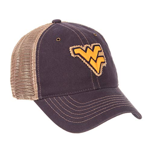 ZHATS NCAA West Virginia Mountaineers Men's Tatter Relaxed Cap, Adjustable, Navy