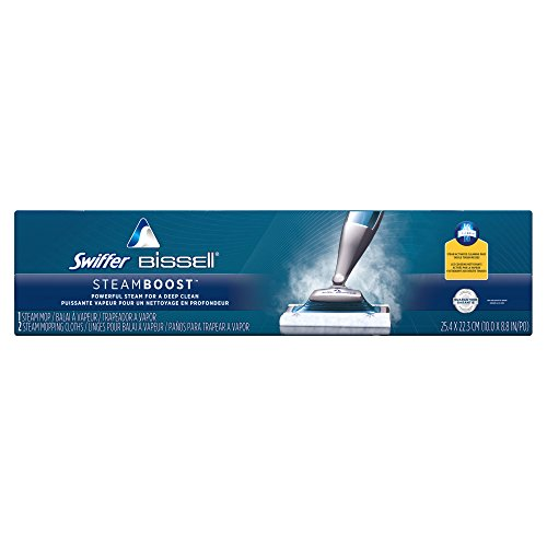 Swiffer SteamBoost Deep Cleaning Steam Mop Starter Kit, Powered by Bissel, Hardwood and Floor Cleaner, Includes: 1 Steam Mop, 2 Steam Mopping Cloth