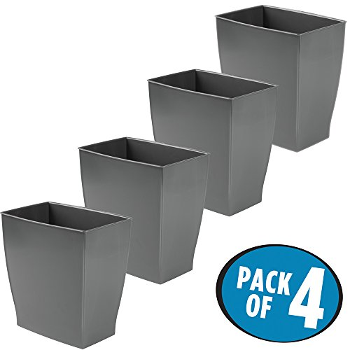 mDesign Rectangular Trash Can Wastebasket, Small Garbage Container Bin for Bathrooms, Powder Rooms, Kitchens, Home Offices - Pack of 4, Shatter-Resistant Plastic, Dark Gray Slate (Shelf Garbage With Can)