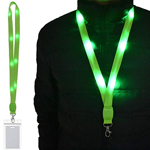 LED Light Up Flashing Lanyard Keychain Holder Keyring Neck Straps Band Holder Necklace Make You Being Seen and Charming at Night for ID Cards Badges Business ID Keys Office Worker (1 Pack-Green)]()