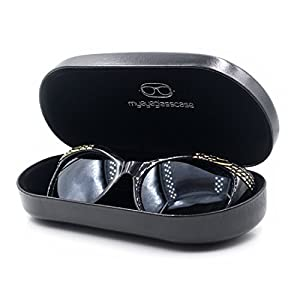 Best Sunglasses / Eyeglass Case with Microfiber cleaning cloth | 100% | Large | Smooth finish | Metal | Hard | Clamshell | For Men and Women | AS87 Black