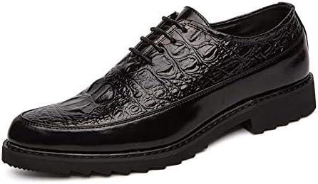 男性エンボス結婚式の靴のための正式なオックスフォードPUレザーは、革ラウンドトウ低ブロックヒールソリッドカラースプリット合同レースアップ YueB HAC (Color : ブラック, サイズ : 25.5 CM)