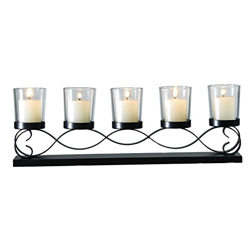 Adeco HD0043 Decorative Iron Horizontal Table Standing Candle Pillar Holder Antique Vintage Wave Style Classy Home Decor Accents Black