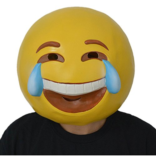 Funny Costumes Ellen Halloween (Amazlab Emoji Tear of Joy Mask for Costume Parties Decorations, Party Supplies, Party)