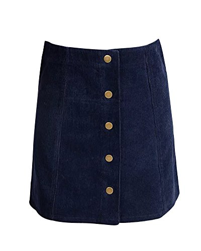 (Gamery Women's High Waist Faux Suede Button Closure Plain A-line Mini Short Skirt X-Small)