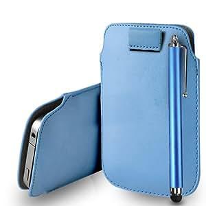 Nokia Lumia 720 Baby Blue Leather Tire Tab caso de la cubierta Pouch + Touch Pen Stylus + paño de pulido