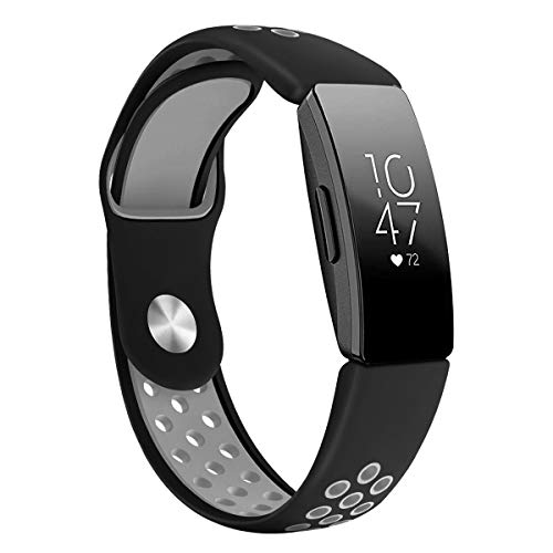 DYKEISS Compatible with Fitbit Inspire HR Fitness Tracker Sport Band, Soft Silicone Replacement Accessory Women Men Breathable Wristband Strap