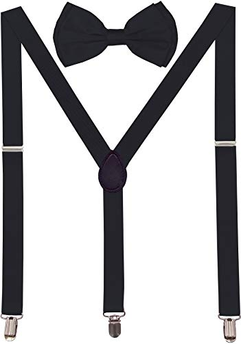 Alfalfa Little Rascals Halloween Costume (Navisima Adjustable Elastic Y Back Style Suspender With Bowtie Set for Menand Women With Strong Metal Clips,)