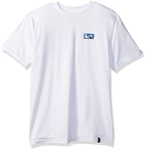 HUF Men's Clouds Bar Logo Tee, White, (Bar Logo Tee)