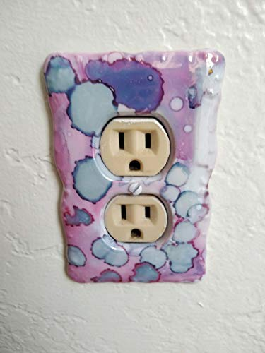 Kute Ceramics Decorative Art Duplex Outlet Wall Plate, Porcelain Pink, Blue, Purple 22-Karat Gold Luster Glazes. *Each piece is abstract painted in similar color & style, will not recieve duplicate. - Ceramic Outlet