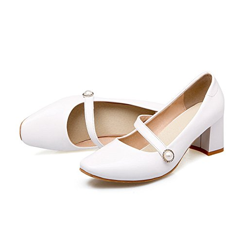 A & N Femmes Talons Chunky Chaussures À Talons Carrés En Uréthane Solide Chaussures Blanc