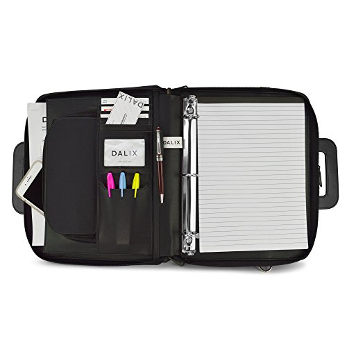 (DALIX Professional Portfolio Padfolio Organizer File Dividers with Notepad 3-Ring Binder)