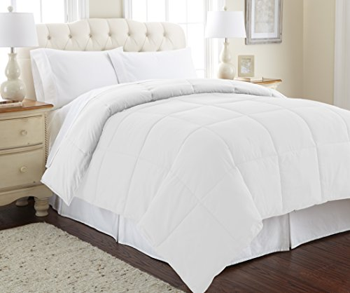 Amrapur Overseas | Goose Down Alternative Microfiber Quilted Reversible Comforter / Duvet Insert - Ultra Soft Hypoallergenic Bedding - Medium Warmth for All Seasons - [Queen, White/White]