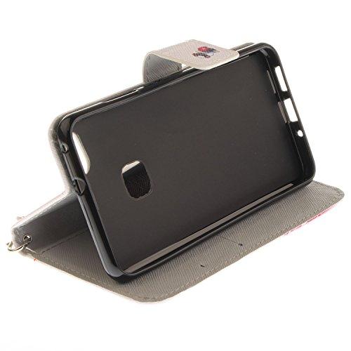Para Huawei P10 Lite funda, (lobo) caja del teléfono de la PU patrón en pintado ,Función de Soporte Billetera con Tapa para Tarjetas correa de mano soporte para teléfono moda del perro