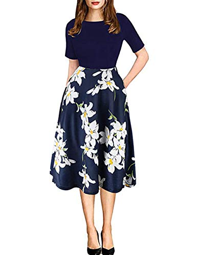 Women's Vintage Patchwork Pockets Floral Puffy Swing Casual Party Cocktail Work Dress(US 12) Blue
