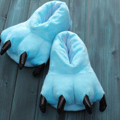 Yuwell Adulte Patte Griffe Pantoufles Peluches Chaudes Homewear Chaussures En Peluche Douce Pantoufles Animaux Pantoufles Bleu Clair
