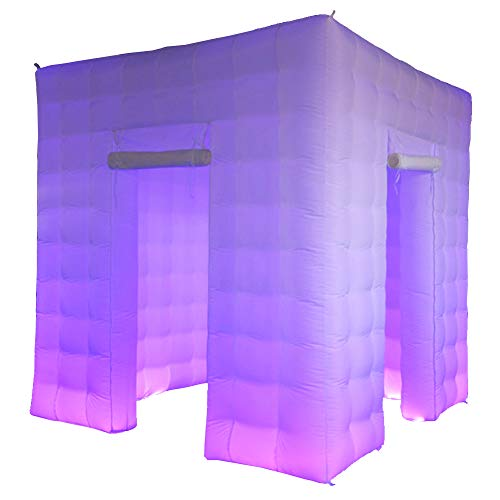 Sayok Portable Inflatable Photo Booth Enclosure with 17 Multi-Colors Led Lights and Air Blower and Photo Booth Props for Party Wedding(White, Two Doors, 8.2x8.2x8.2ft)