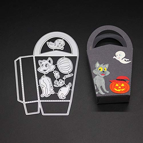 9.4X14cm Cat Ghost Pumpkin Gift Bag Frame Halloween Craft Die Metal Cut Cutting 3D Stamp Handmade DIY Scrapbooking Scrapbook Paper Card Album Decor -