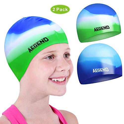 aegend Kids Swim Cap (Age 2-4), 2 Pack, Blue & Green