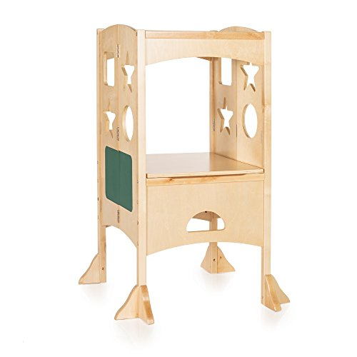 Cheap  Guidecraft Classic Kitchen Helper Stool - Natural: Adjustable Height, Folding Step Stool..