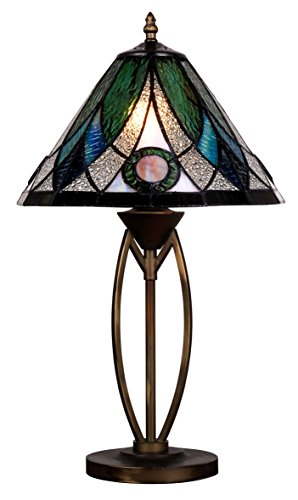Tiffany Style Stained Glass Table Lamp Decorative Blue Green White Accent Lighting Crystal Mosaic Red Jewel Coffee Cocktail Table Desk Bedroom Living Room Bedside Reading Night Light 20 x 12 inch ()