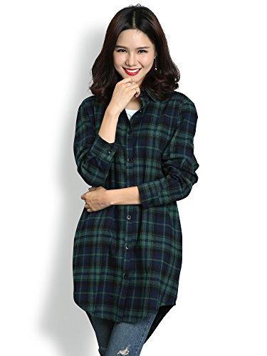 Women's Long Sleeve Boyfriend Style Plaid Shirt Dress Casual Tops C004BF Green L