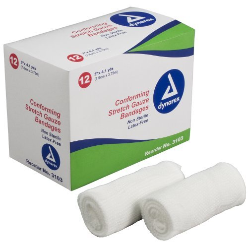 (Dynarex Stretch Gauze Bandage Roll, Non-Sterile, 3