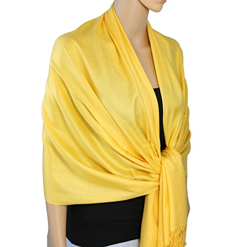 Bazzaara Large Soft Silky Pashmina Shawl Wrap Scarf in Solid - Silk Neck Drape
