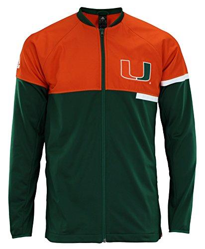 adidas NCAA Men's Miami Hurricanes Two Tone Zip Up, Green XX-Large