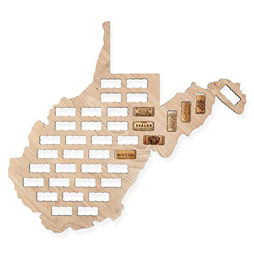 Wooden Shoe Designs Wine Cork Map - All States Available - Display Your Wine Corks (West Virginia)