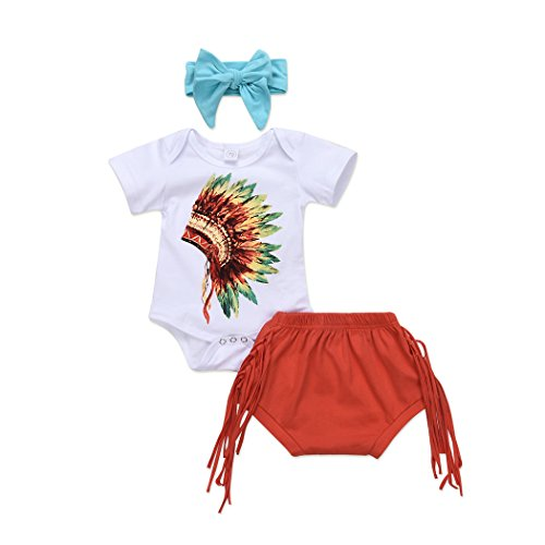 MIOIM 3pcs Infant Toddler Baby Girls Indian Headdress Feather Printed Rompers Tassels Bottoms Headband Outfits Set -