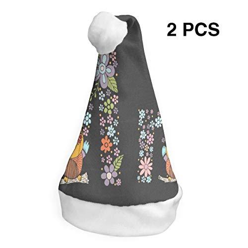 Christmas Hat Floral Letter M OWL Santa Headwear Xmas Cap Costume Decorations 2 PCS]()