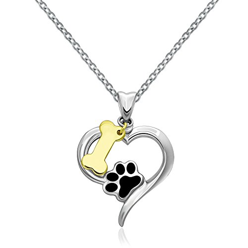 MONBO 925 Sterling Silver Cute Dog Puppy Paw Print Love Heart Pendant Necklace with Bone Charm for Woman Girl Women Friend