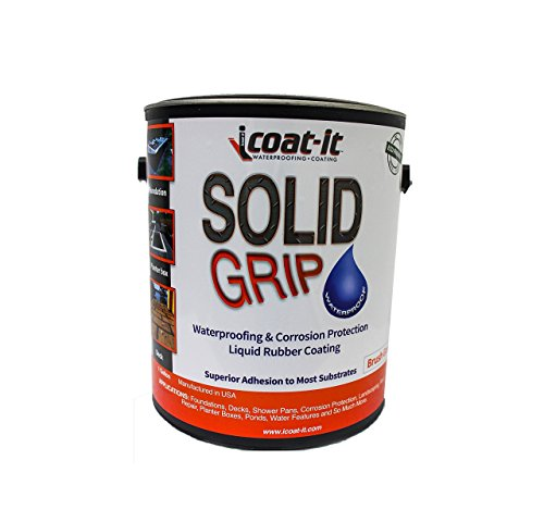 Liquid Rubber Waterproof Sealant 1 Gallon, iCoat-iT Solid Grip Roof Seal Waterproofing and Protective Coating, Brush Grade - Fix Leaks Permanently, Dries Quickly, Performs Better (Coating Roof Brush)