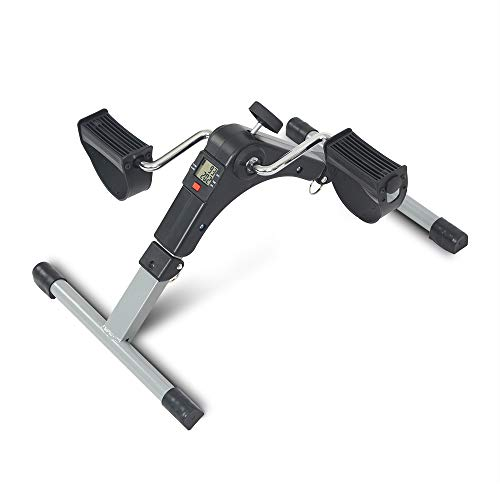 Foldable Pedal Exercise Bikes Stationary Leg Fitness Peddler Portable Arm Cycle Bike Under Office Home Desk (Mini- Gray)
