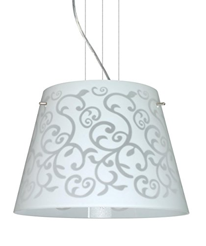 Besa Lighting 1KV-4340WD-LED-SN 3X6W GU24 Amelia 15 LED Pendant with White Damask Glass, Satin Nickel - Sn Led Amelia Satin