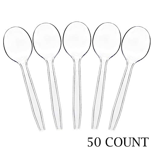 - Plasticpro Clear Plastic Soup Spoons Disposable Cutlery Utensils 50 Count