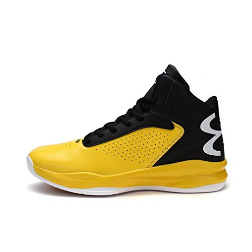 8fdb58ae601a Hy Men s High-top Basketball Shoes Microfiber Spring Fall New Sneakers  Wearable Slip-Ons Boots Student Running Shoes Yellow Red  Black  Orange Black and ...