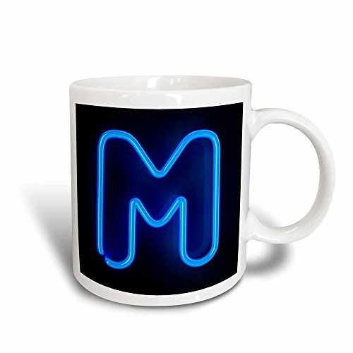 (3dRose 155133_3 Monogram Letter M Abstract Neon Blue Lit Shining Illuminated Mug, 11)