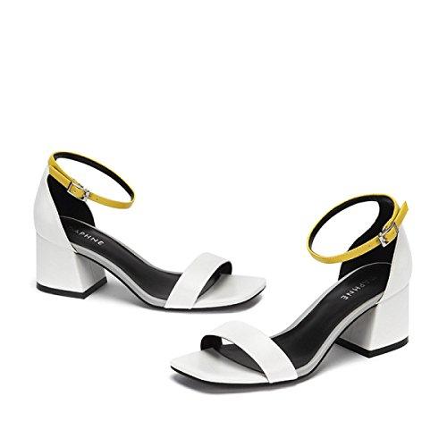 de Cómodos Nuevas Bombas Zapatos Koyi Mujeres Moda Palabras del de Las Gruesos Talones Cómodas Verano White Sandalias xYwZ8