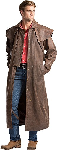 Montgomery Lambskin Leather Duster, DARK DISTRESSED, Size LARGE (Duster Leather)