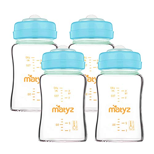 Matyz-4-PACK-Wide-Mouth-Glass-Breast-Milk-Storage-Containers-With-Lids-Blue-6-Oz-Each-Glass-Freezer-Safe-Breastmilk-Storage-Bottles-Breast-Pump-Accessories-For-Medela-Spectra-Avent-Breast-Pumps