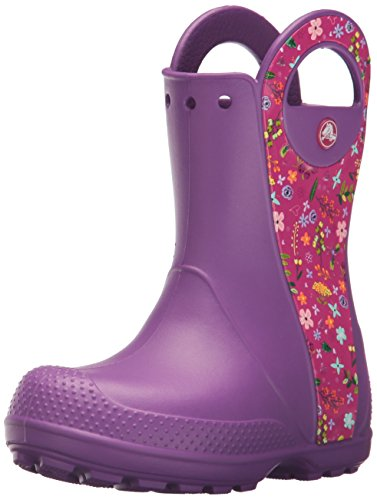crocs Kids' Handle It Graphic Rain Pull-On Boot, Amethyst, 1 M US Little Kid by Crocs
