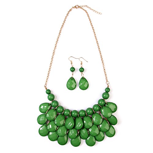 Riah Fashion Women's Green Beaded Bubble Bib Chunky Statement Pendant Necklace Set - Green Necklace Set For Women