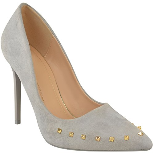 Fashion Thirsty Womens High Heels Studded Stilettos Pointed Toe Court Shoe Pumps Size Light Grey Faux Suede YG4wSn4VKN