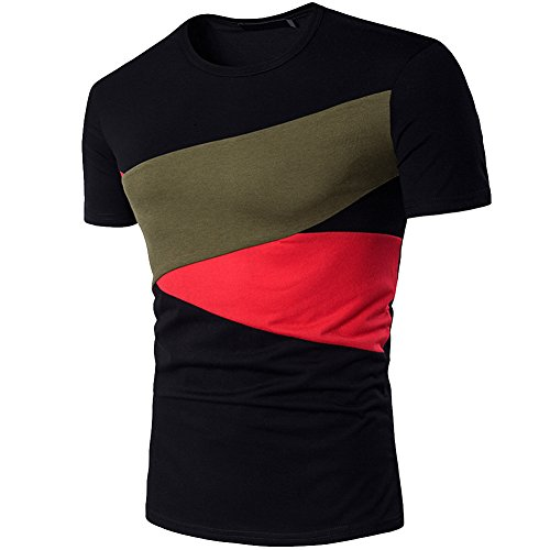 Cottory Mens Fashion Color Block Assorted Colors Round Neck Short Sleeve T Shirt