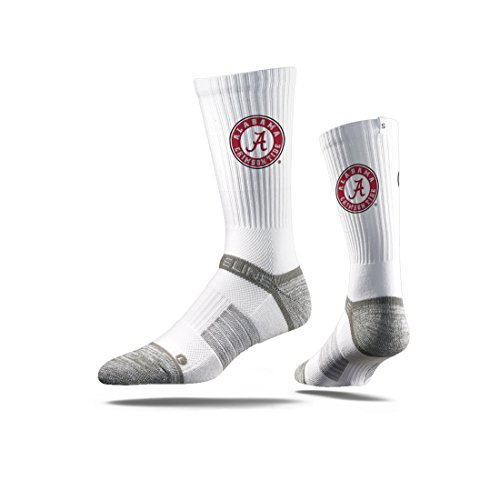 NCAA Mens Alabama Crimson Tide Strideline Crew Socks, White, One Size