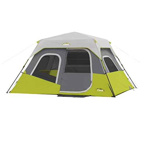 CORE 6 Person Instant Cabin Tent (Green) with Wall Organizer (Best Tent For Burning Man)